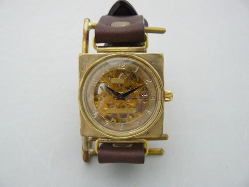 手作り時計 Hand Craft Watch 手巻きBrass JUMBO スクエア [BHW065 GD/BR]