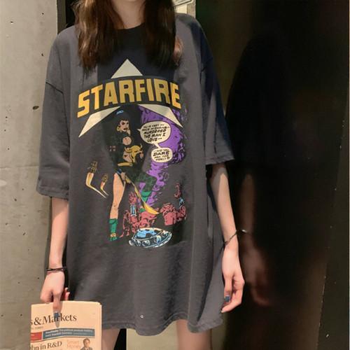 【即日発送】アメコミプリント オーバーサイズ Tシャツ 4カラー tk2060