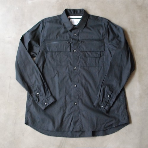 White Mountaineering FLARED HEM OX SHIRT WITH BIG ZIPPED CHEST POCKETS