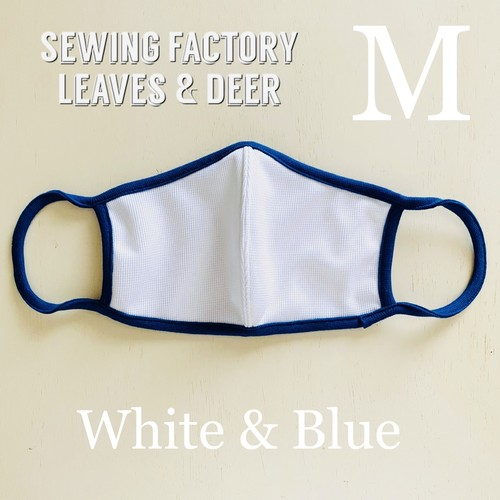 日本製 涼感サラサラ 吸汗速乾 UVカット 夏のマスク ホワイト&ブルー Mサイズ