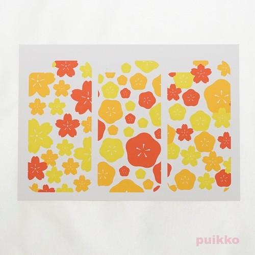 スマホ用スキンシール(3枚セット) 桜&梅