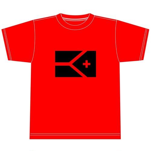 KYUSフラッグ 半袖ドライシルキーTシャツ (レッド×ブラック)