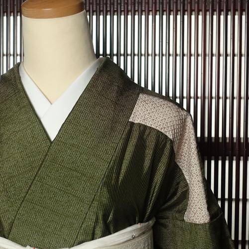 紬に絞り(164cm・67cm) 正絹付下げ【1575】