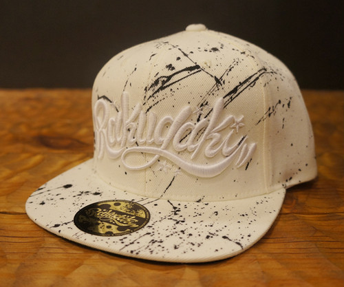 "RAKUGAKI Main logo ""Hand Paint"" Snap Back Cap Natural x White"