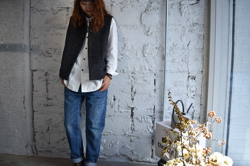 【ORDINARY FITS】YARD VEST herringbone col.BLK
