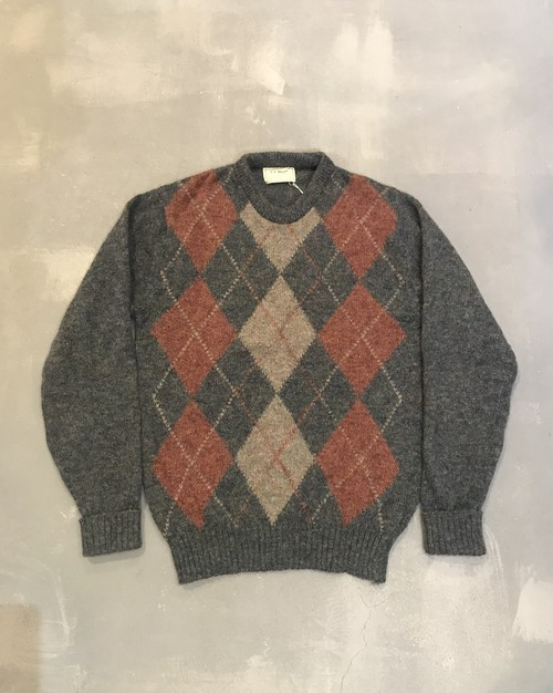 L.L.Bean Argyle Pattern Sweater / Made in Ireland [2014]