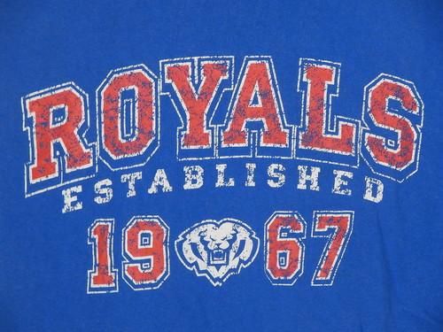 USA古着プリントTシャツL青ROYALS1967両面かすれ綿100美品