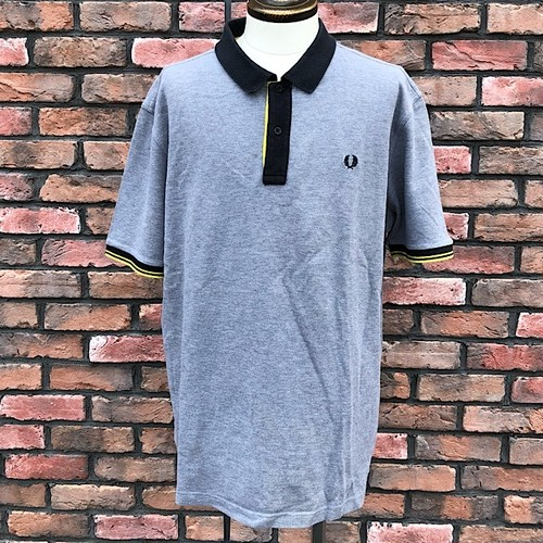 Used Fred Perry Polo Shirt Black/Gray/Yellow XXL