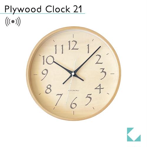 KATOMOKU plywood clock 21 km-120BLRC 電波時計