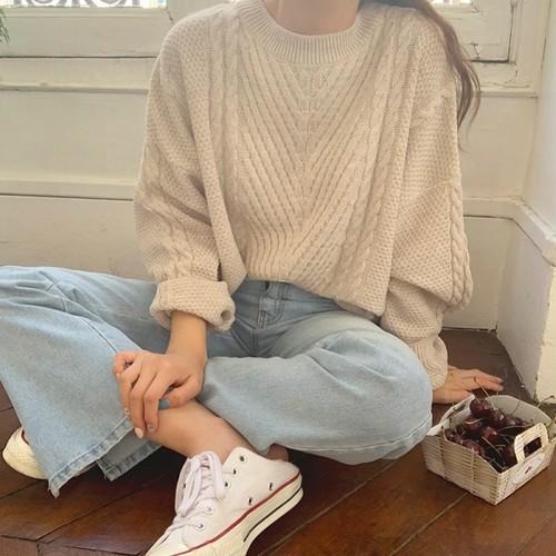 韓国ファッションゆったりラウンドネック長袖ニット・セータートップス