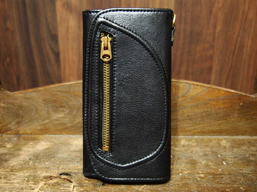 D-POCKET LONG WALLET(BLACK × BRASS GOLD)