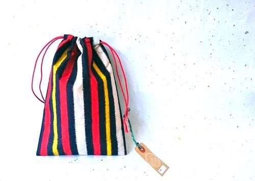 -Red&Yellow Stripe-  ビンテージ銘仙着物リメイク ストライプきんちゃく 巾着