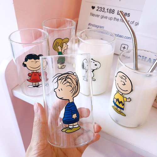 snoopy friends glass cup 300ml 5types / スヌーピー ピーナッツ コップ 韓国 北欧