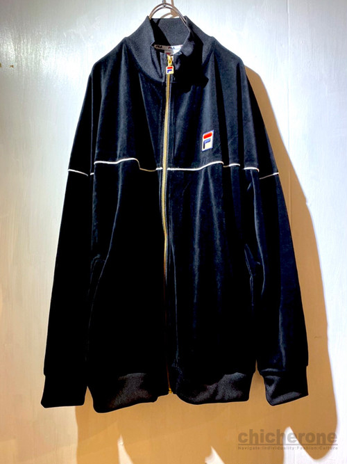 【FILA HERITAGE】BOX-LOGO VELOURSTRUCKJACKET BLACK