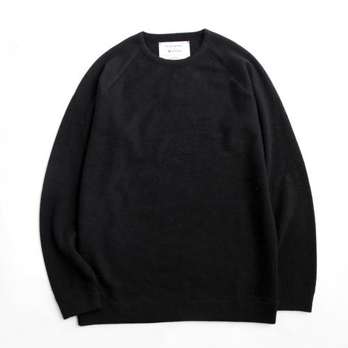THE INOUE BROTHERS/Crew Neck  Raglan Sweater/Black