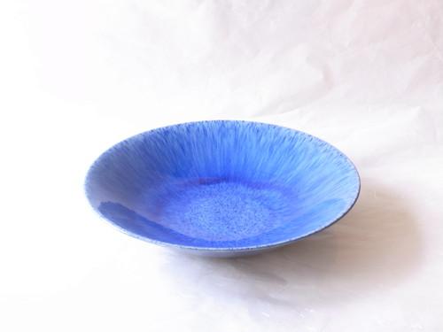 信楽焼 青釉流し 水盤(花器)39㎝