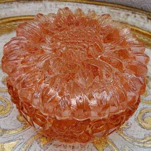 チェコスロバキア ボヘミアガラスのジュエリーポット ひまわり / クリアピンク