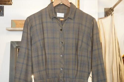 50's plaid wool pencil shirt Dress