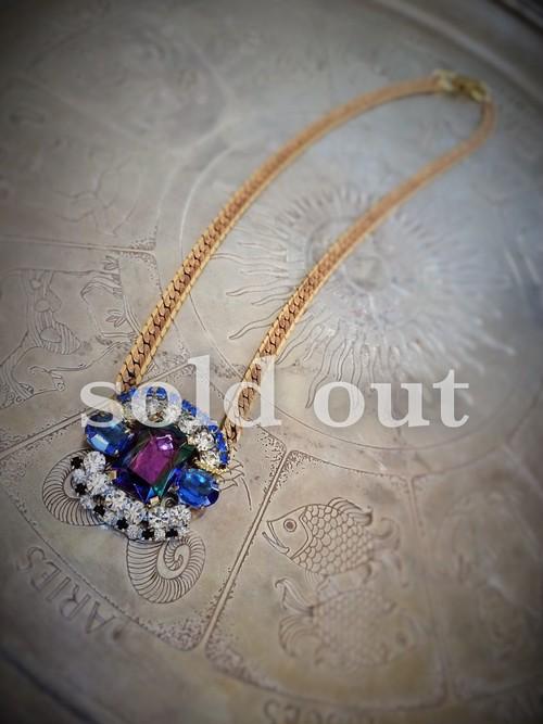 vintage necklace bijou <ncFL-RB3>