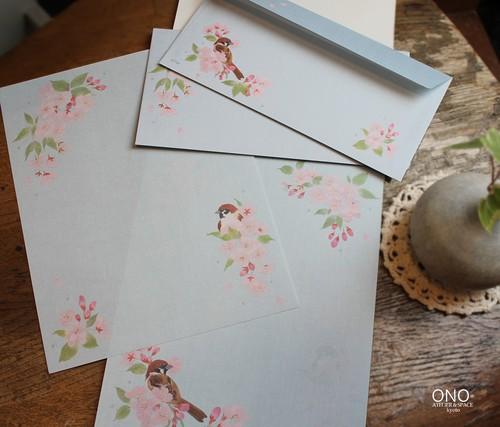 桜に雀 レターパッド