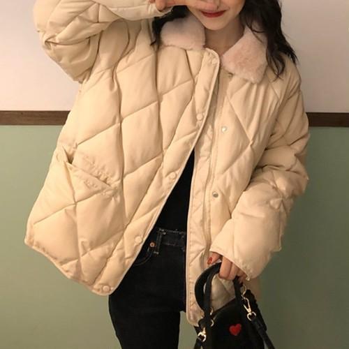 コージー 長袖 折り襟 韓国ファッション ファンアート 柔らか 上品  ダウンコート・アウター