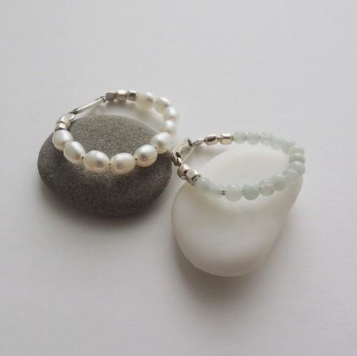 R_006 pearl ring/amazonite ring