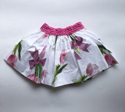 MONNALISA チューリップ柄リボンスカート パニエ付き 3才~12才 モナリザ