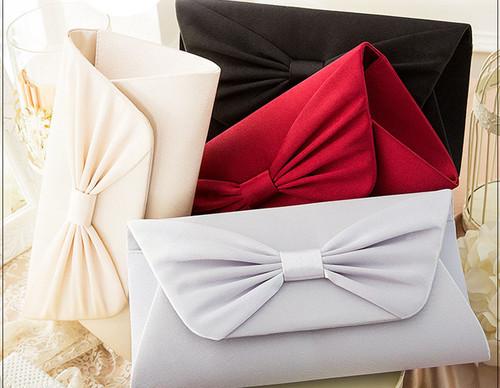 ブライダル 4color イブニングバッグ リボン シンプル 結婚式や二次会◎必須アイテム