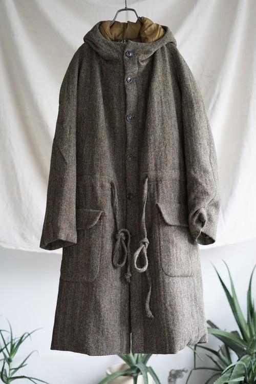 Vincent Jalbert - Washed Herringbone Tweed Quilted Long Parka