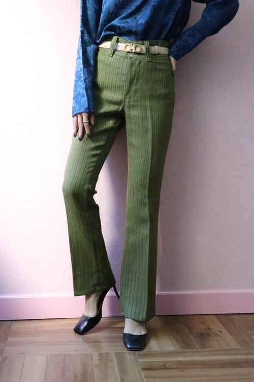 green stripe pants