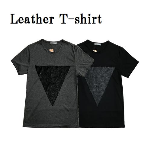 レザーストレッチ半袖Tシャツ