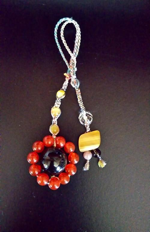 天然石 ゴールデンオブシディアン・赤メノウのバッグチャーム