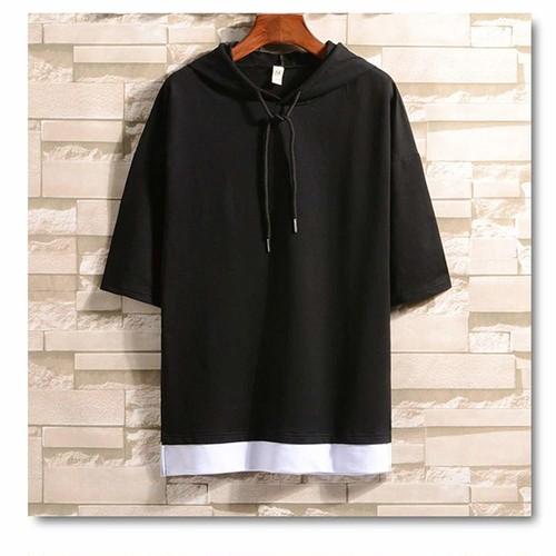 カジュアル Tシャツ メンズ 半袖 無地 七分袖 パーカー【Lサイズ】