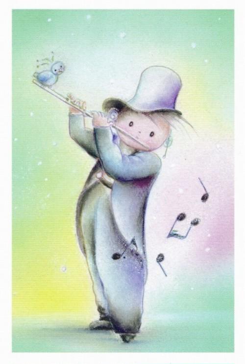 PCS014 「小鳥とフルートを吹く男の子」ポストカード12枚セット