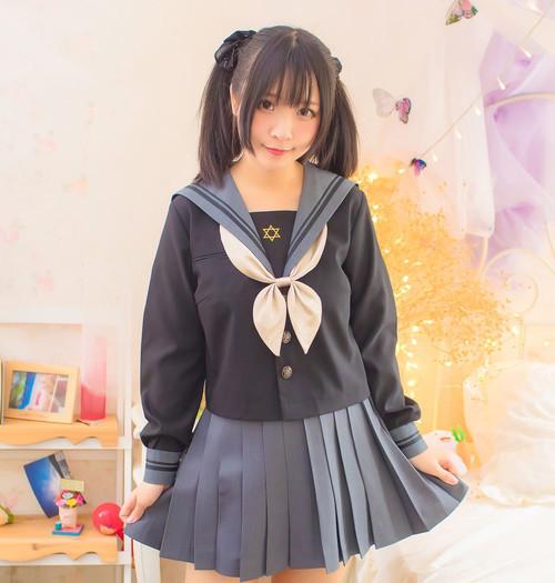 【即納】 病みかわ 六芒星 セーラー服 (長袖Sサイズ)