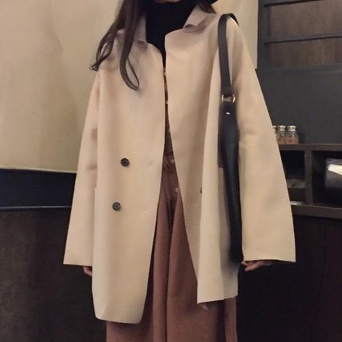 【アウター】秋冬合わせやすいレトロ韓国風ゆったりロングファッションコート