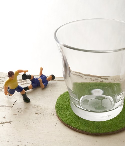 Soccer ball glass (with green coaster)