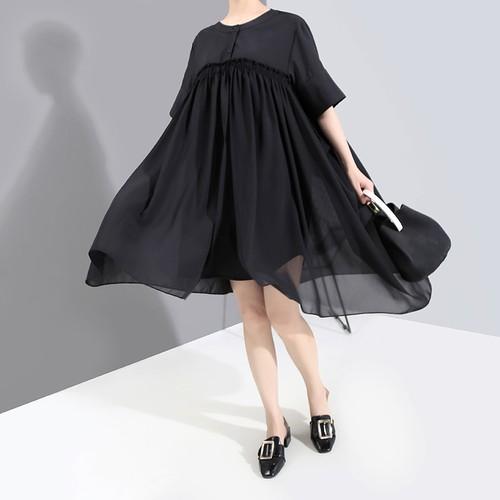 ドッキングワンピース 半袖 切り替え メッシュ 大きいサイズ 韓国ファッション レディース ワンピース ゆったりウエスト Aライン ハイウエスト 大人カジュアル 大人可愛い ガーリー