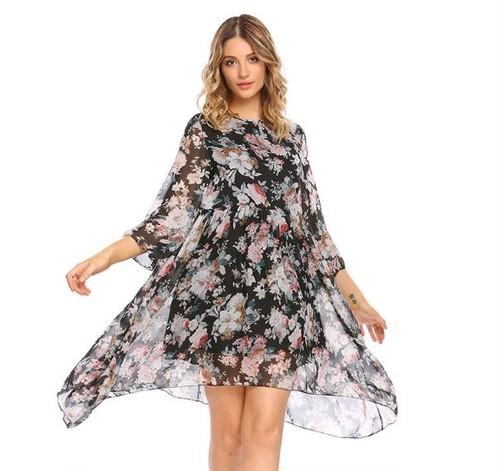 [七分袖]シースルーロング花柄ドレス