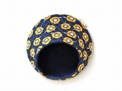 ハリちゃんのおやすみベッド(夏用) フラワー ネイビー×イエロー / Hedgehog bed for summer