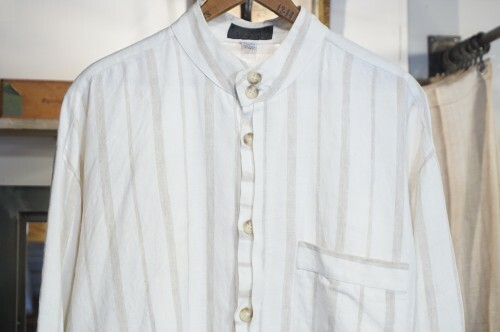 80's St.Remo NEW YORK linen stand-collar Shirt
