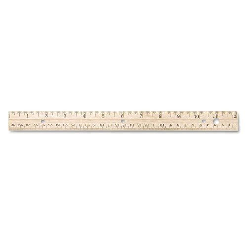 Westcott ウッド30cm 定規 ミリ、1/16インチ表記