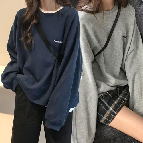 【2カラー】 スウェット トレーナー プルオーバー 韓国ファッション レディース ストリート系 ラウンドネック 刺繍 DTC-602470679613