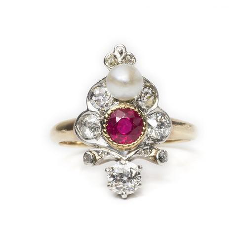 Belle Époque Fleur-de-lis Ruby Ring