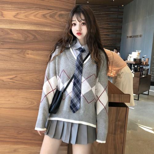 【送料無料】スクールガールテイスト♡ ネクタイ付き アーガイル ニット ブラウス シャツ 3点セット