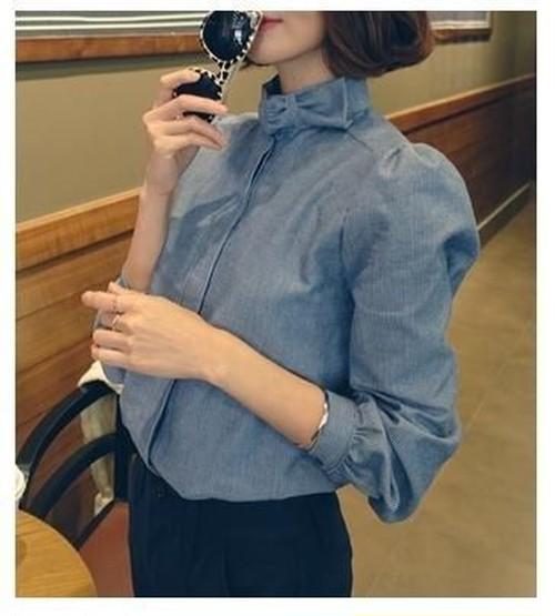 【送料無料】リボンモチーフ 可愛い ガーリー ブラウス シャツ