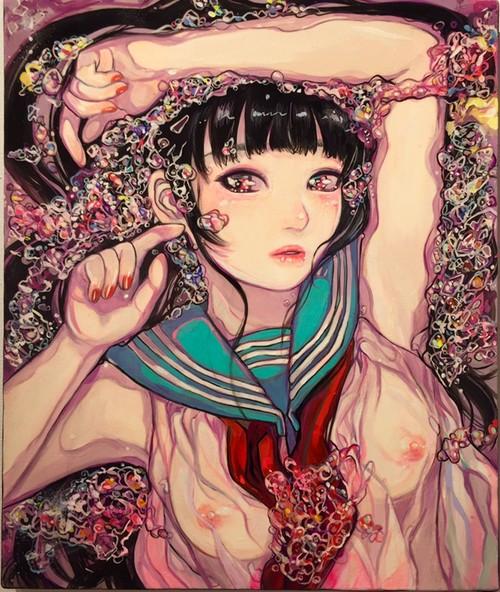 巽千沙都「なまぬるいあい」F8  キャンバスにアクリルメディウム