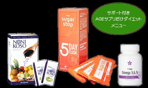 AGEダイエット【基本サプリ3種類セット+サポート付き】メニュー