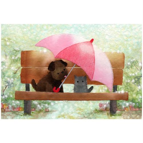 『忘れ物 ver.2』 誰かの傘の忘れ物取りに来るまで見てるね   かわいい子犬とにゃんこのイラスト ポストカード