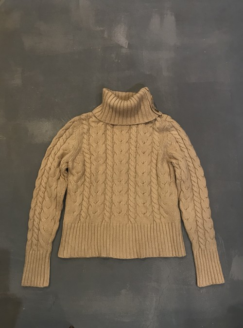 BANANA REPUBLIC Cable Knit Buttoned Turtleneck Sweater [K-750]